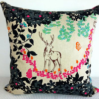 Japanese colorful cushion cover with butterfly and by miaandstitch