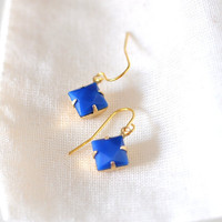 Blue Diamond Dangle Earrings on Luulla