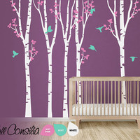 "Tree with birds Wall Decal. Wall Sticker. Vinil wall decal. Birch trees. Large scene: approx 142"" x 93""  - K048"