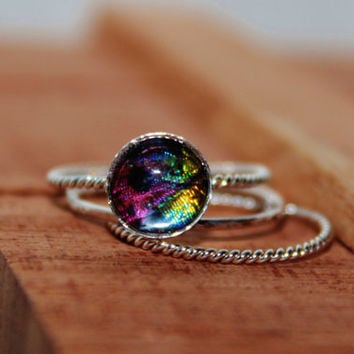 Real Sunset Moth Wing Sterling Silver Stack Rings by Athenianaire