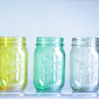 set of 5 tinted mason jars by CamlieInc on Etsy