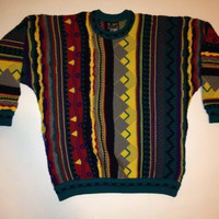 Vtg 1990s COOGI AUSTRALIA Notorious biggie small sweater 100% pure new wool hiphop right Multicolor Hipster Cosby XLARGE