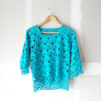 crochet top / crochet blouse / turquoise top / turquoise shirt