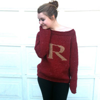 Made to Order - Sweater with Letter -Red and Gold - Knitted - Monogram - Pullover -  Weasley Jumper