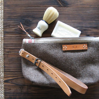 Unique Wool Toiletry Bag. Great Unisex Gift . Handmade from Vintage Swiss Army  Wool Blankets. Grey Taupe  Industrial Retro Design