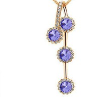 Wholesale Unique Rhinestone Embellished Gold Chain Necklace Violet
