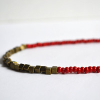 RED Beaded Necklace. Square Bead with Seed Beads. Bold Red Sleek Minimal Geometric Necklace. Valentine Necklace