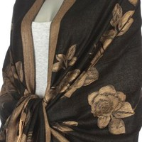 Lightweight Two Tone Rose Floral Design Pashmina Fringe Scarf / Stole / Wrap ( Choose from 20 Color