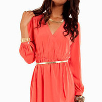 Tobi Lulus modcloth trendy coral wrap dress