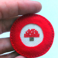 Mushroom embroidered cross stitch brooch
