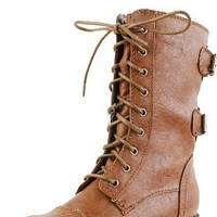 Timberly02 Leatherette Round Toe Combat Boots WHISKY