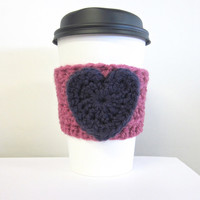 Crochet Cup Cozy The Valentines Heart Coffee Cup Sleeve in Purple and Pink