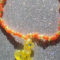 My Little Pony Mosely Orange Glitter Kandi Necklace from On Secret Wings