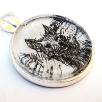 Fox Illustration Pendant from Vintage by CarpeDiemHandmade on Etsy