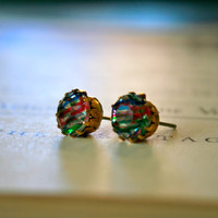 Kate Earrings vintage 1950&#x27;s German glass jewels by orangejuniper