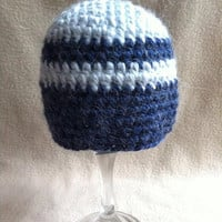 Bluesy  Light and dark blue alpaca striped by HookinItbyBellaBeanz