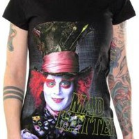 ROCKWORLDEAST - Alice In Wonderland, Girls T-Shirt, Johnny Depp Mad Hatter