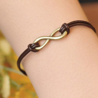 karma bracelet,retro bronze infinite pendant bracelet,brown leather bracelet---B040