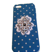 Blue iPhone 5 Case, Kawaii iPhone 5 Case, Special iPhone 5 Case, Fabric iPhone 5 Case