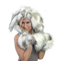 Faux Fur Rabbit Hooded Hat with Hand Pockets - Whimsical & Unique Gift Ideas for the Coolest Gift Givers
