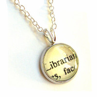 Librarian Sterling Silver Mini Pendant Vintage Library Card Charm by The Written Nerd