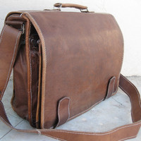 Large Men Leather Messenger Bag Men Leather Briefcase 16 inches Pure Leather Macbook/Laptop bags shoulder handbags brown leather satchel