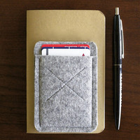 Old Calgary Organic Wool Oxford Card Sleeve Wallet - Concrete - Gray