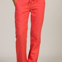 Straight Leg Linen Pants - Coral from Poetry at Lucky 21 Lucky 21