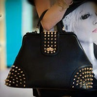 Diophy Gold Studded Tote (Black) - Shoes 4 U Las Vegas