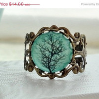 SHOP SALE Aqua Tree Filigree Statement Ring  by WearitoutJewelz