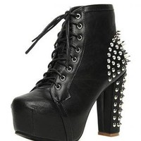 Black Lace Up Ankle Platform Boot with Spike Embellishment