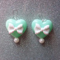 Sweet Mint Puffy Heart and Bow Earrings from On Secret Wings