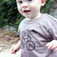 Fox on a Bike Shirt  Childrens TShirt  by darkcycleclothing