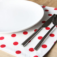 Cloth Placemats  White with Red Dot  Set of by toocutecustomcrafts