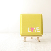 "Love Wooden Sign - Love Pink, Yellow and White Wooden Plaque - ""Love"" with Pink Heart"