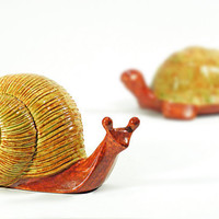 super sweet slimy snail and turtle garden by jetsetvintage on Etsy