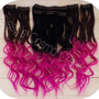 "12"" Pink Passion Ombre Dip Dye Clip In Human Hair Extensions Sample"