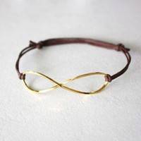 Infinity Bracelet or Anklet in Brass/Gold