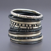 $36.00 Skinny Stacking Ring Set in Sterling Silver (Pick any 3) by LichenAndLychee