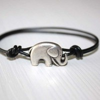Elephant Leather Bracelet in Antique Silver (14 Cord Colors Available)