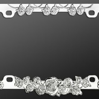 Chrome Metal Car License Plate Frame - Roses