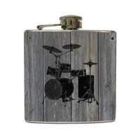 Drum Set Whiskey Flask on Vintage Distressed Gray Grey Old Barn Wood Gift Stainless Steel 6 oz Liquor Hip Flask LC-1163