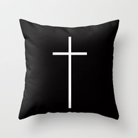 Christian Cross Black Throw Pillow by Rex Lambo | Society6