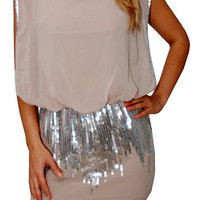Silver Swan (Beige)-Great Glam is the web's best online shop for trendy club styles, fashionable party dresses and dress wear, super hot clubbing clothing, stylish going out shirts, partying clothes, super cute and sexy club fashions, halter and tube tops