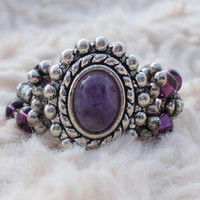"Silver Set Polished Amethyst Beaded Ring, ""Katherine"""