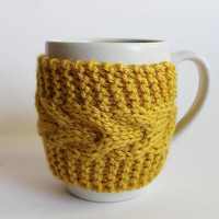 Knitted Cup Cozy Mug Sleeve Yellow Mustard by GoodWeather on Etsy