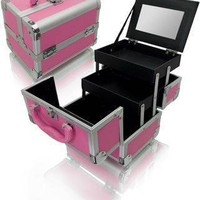 Pink Aluminum Cosmetic Train Case Makeup Train Cases