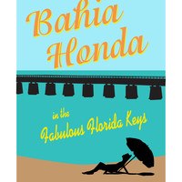 Bahia Honda Florida Keys beach poster with vintage by Visuaria