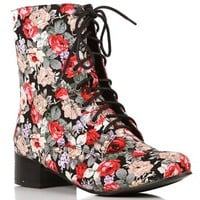 Black Floral Boots
