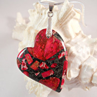 Heart Pendant Necklace, Sea Sediment Pyrite Jasper